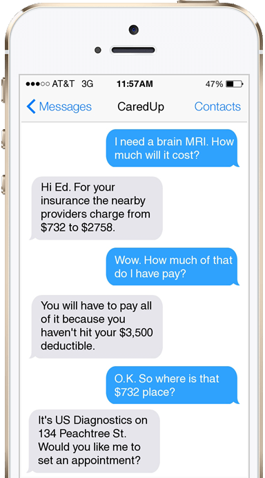 CaredUp iPhone Conversation Example